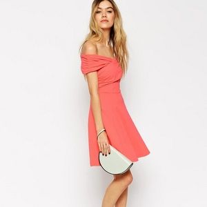 ASOS Off Shoulder Peach Skater Dress Size 6